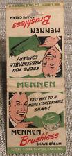 New listing Vintage Matchbook Cover Mennen Brushless Shaving Cream No Reserve Auction d0316