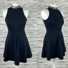 TOPSHOP Black Skater Dress with Beaded Neck Size 6 Smart Casual
