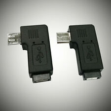 KM_ 1 Pair Metal Right Left Angle Micro USB Male 90 Degree Micro Female Plug Ada