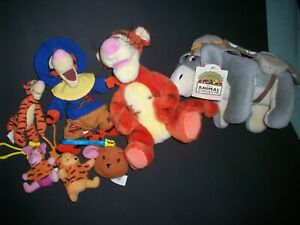 Disney GUND Plush Lot  Animal Kingdom Safari Eeyore Tiger Stuffed Animals 7 pcs