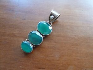Vintage Sterling Silver Pendant. Marked 925. 3 Beveled Green Stones with Pearl
