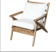 Retro Timber Chair With White Linen Fabric / Coastal Style Accent Chair Fabric