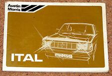 MORRIS ITAL Owners Manual Handbook 1981 - Saloon Estate 1.3 1.7 2.0