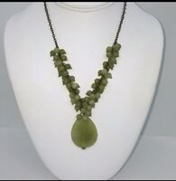 JADE CLUSTER NECKLACE AND EARRINGS SET