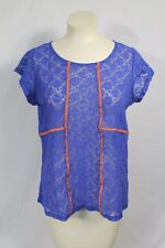 Dept 222 Royal Blue Lace Cap Sleeve Top Sz 1X Plus Size Neon Trim Anthro