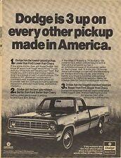 Original 1976 Dodge Pickup Magazine Ad - Dodge is 3 Up...