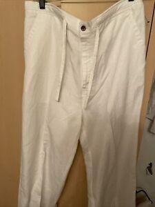 Cubavera Bright White Linen Blend Slacks. Could Be Unisex. Large 36-38