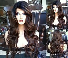 USA: Heat OK Long Ombre Brown Black Curly LACE FRONT Dark Root Wavy WIG