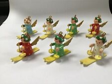 7 Vintage Made in Italy Wooden Tiny Christmas Angels on Skis Very Rare-Excellent