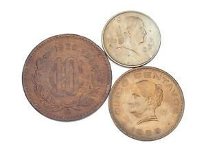 1920-1955 Mexican 5 & 10 Centavos Lot of 3 Coins (VF-BU) KM# 424, 425 & 430