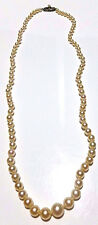 "21.5"" ANTIQUE VINTAGE MIKIMOTO GRADUATED PEARL STERLING SILVER NECKLACE"