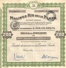 Argentina, Molinos Rio de la Plata, certificado de 2 acciones, Buenos Aires,1957