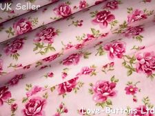 PRETTY ROSE AND HUBBLE PINK FLORAL PRINT FABRIC 100% COTTON HALF METRES