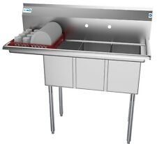 """3 Compartment NSF Stainless Steel Commercial Kitchen Sink with Drainboard 45"""""""