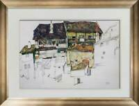 "Egon SCHIELE Lithograph SIGNED #'ed Ltd. Ed. ""Old Houses Krumau"" 1914 +FRAMING"
