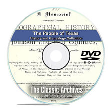 Texas TX, People Cities Towns History and Genealogy 253 Rare Books DVD CD B17