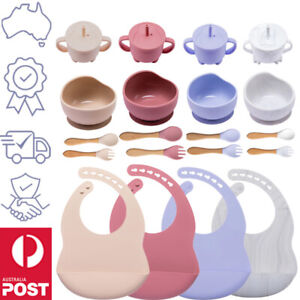 Baby Silicone Feeding Set, Safe 5 Piece- Bib Bowl Spoon Fork Cup, Toddler Dinner