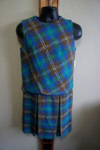 NEW Deadstock Vintage Sz 14 Plaid Wool Twill 1pc Sleeveless Skirt Suit Vtg p60