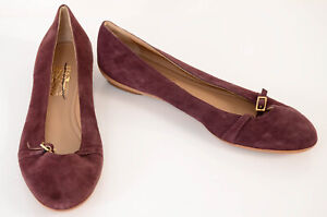 Salvatore Ferragamo purple 10 suede cutout buckle slip on ballet shoe NEW $525