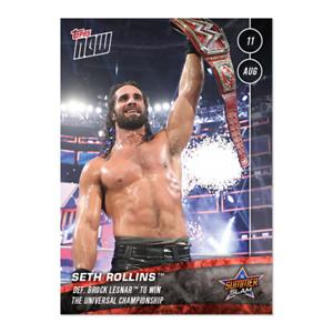 2019 Topps Now SETH ROLLINS Def. Brock Lesnar #47 WWE (SummerSlam) Print Run /96