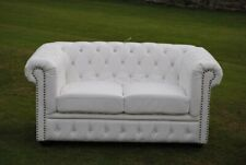 Brand New White PU Leather Chesterfield Diamante 2 Seater Settee Sofa!