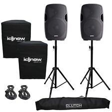 Gemini AS-1200P Active/Powered Portable DJ PA Speaker System Stands and Covers