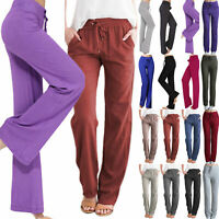 Plain Women's Lounge Pants Soft Palazzo Drawstring Loose Fit Trousers Yoga Dance