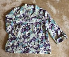 Christopher & Banks XL Snap Button Up Multi Colored Paisley Pattern Shirt