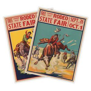 SET of 2 Rodeo State Fair Bull Bronco Rider Vintage Art Print Posters circa 1930