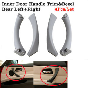 4Pcs Grey For BMW E90 328i Rear Left+Right Inner Door Handle Pull Trim & Cover