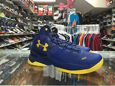 UNDER ARMOUR DUB NATION CURRY 2 SHOES SIZE 7Y BOY'S YOUTH EUC BLUE YELLOW