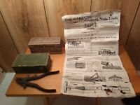 Antique Disston Holders wooden box, Simonds box & sheet & Nike Sweden saw set