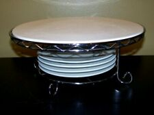 "Godinger Silver Art Co. 12"" CAKE PLATE Stand  W/ Metal Stand & 4 Dessert Plates"