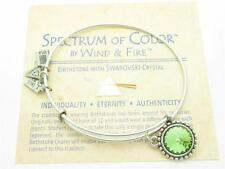 Wind and Fire August Birthstone Swarovski Charm Wire Bangle Stackable Bracelet