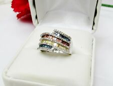 1.00 ctw Multi Color Diamond Ring 925 Sterling Silver Size 6