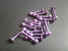 Per Labbra Piercing Gioielli Titanio 18g 12mm Totale 3mm Sfera Colore Viola Bite