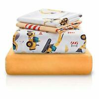 Chital Bed Sheets for Boys | 4 Pc Construction Tractor Fun Print Gift Sheet Set