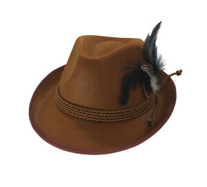 Brown Oktoberfest German Alpine Hat Tyrolean Lederhosen Costume Swiss Bavarian