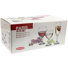Parigi, 18 pezzi Vino Champagne flauti ACQUA BEVANDE IN VETRO SET BICCHIERI