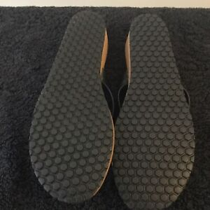 Ladies Womens Black Leather Toe Post Holiday Sandals Summer Size UK 6 /EUR 39
