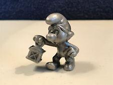 Smurfs Pewter Watchman Smurf Lantern Rare Figurine Vintage Metal Figure 20024