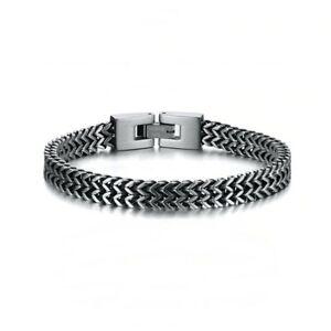 Armband Kette Dick Herren aus Edelstahl Kette Zweifarbig Silber Und Schwarz