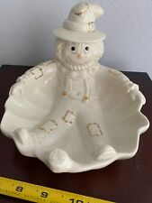 Lenox Scarecrow Candy Dish Ivory With Gold Trim Halloween