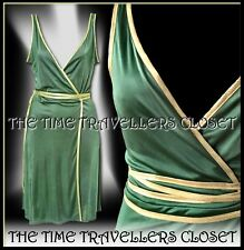 Topshop Kate Moss Green Gold Grecian Wrap Midi Dress Vintage 70s Studio 54 UK 8
