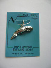 Sterling Silver Medium Whale Pendant New