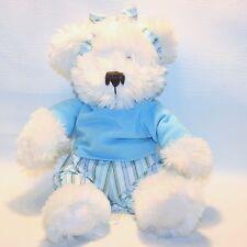 "Star Warner Plush Blue Outfit White Teddy Stuffed Animal Bear Headband Bow 14"""