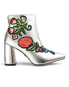 Daisy Street Metallic Embroidered Boots UK 3, Europe 36, USA 5