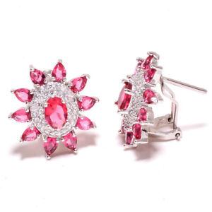 "Pink Rubellite Tourmaline & White Topaz 925 Silver Earring Jewelry 0.90"" T2718"