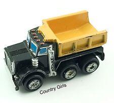 Micro Machines Dump Truck Diesel Kenworth Black Orange Big Rig Auto Work Vehicle
