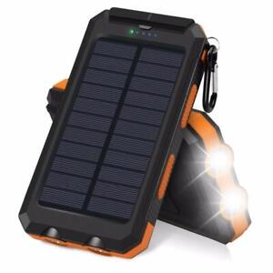 20000mAh Solar Power Bank Charger Waterproof With Dual USB, Compass & Flashlight